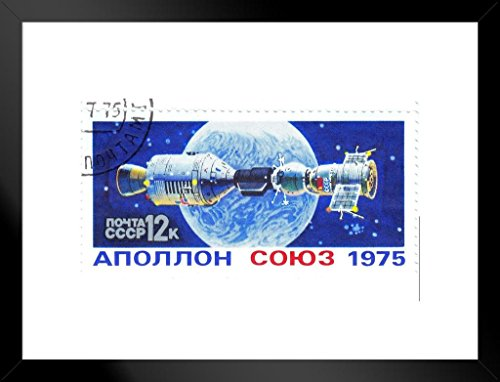 Flight of Soyuz and Apollo Vintage Postal Stamp Art Print Matted Framed Wall Art 26x20 inch