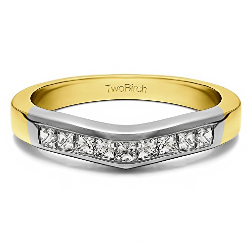 (Diamonds (G-H,SI2-I1) Tracer Band In 10k TwoTone Gold(0.75Ct) Size 3 To 15 in 1/4 Size Interval)