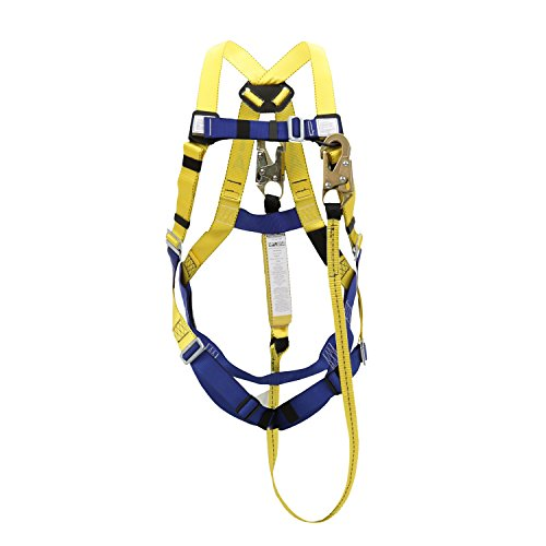 Peakworks Fall Protection V8252356 OSHA/ANSI Compliant Safety Harness and 6 ft. Lanyard Kit, Universal Fit, Polyester Webbing, (2) Snap Hooks, Yellow/Blue