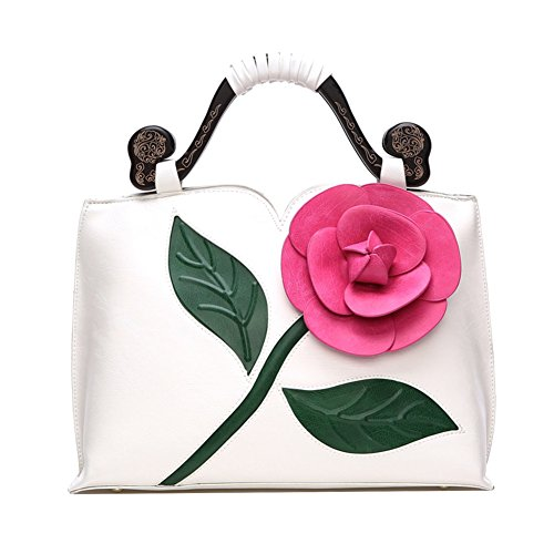 Vanillachocolate 3D Rose Flower PU Leather Tote Handbag With Wooden Handle For Women (Large, ()