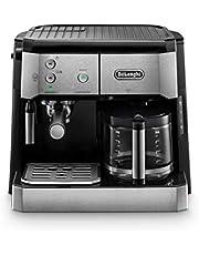 De'Longhi kombikemaskin BCO 421.S – kaffemaskin med espresso-sipprar och filterkaffefunktion inklusive mjölkskålar, glaskanna & vattenfiltersystem, rostfritt stål/svart