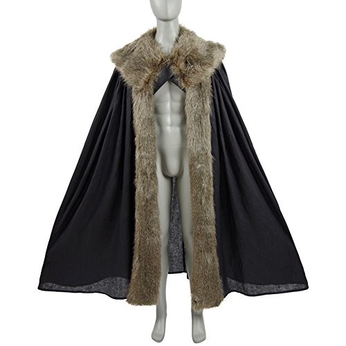 [Cosdaddy Game of Thrones Nights Watch Jon Snow Battle Armour Cosplay Costume with Cape (L, cape)] (Night Watch Costumes)