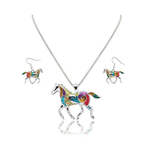 - Colorful Enamel Animal Horse Pendant Necklace Earring Jewelry Sets for Women Girl Jewelry Gift (Silver)