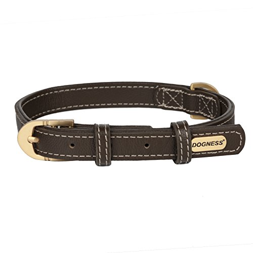 Dogness Leather Dog Collar  100  Top Grade Genuine Leather With Metal Buckle  Brown  For Medium Large Dogs  Matching Leash Sold Separately