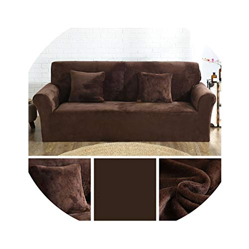 (two- Cases Plush Fabric Sofa Cover Stretch seat Covers Couch Cover Love-seat Furniture wrap slipcovers Covering Towel,Close to Coffee,3 Seat 190-230cm)