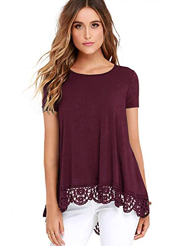(URRU Women's Tops Short Sleeve Lace Trim O-Neck A-Line Tunic Blouse for Leggings Wine Red L)