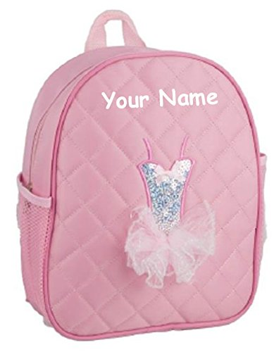 Personalized Quilted Pink Tutu Themed Backpack Dance Bag - 12 -