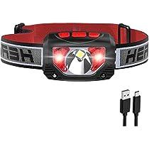 Tinzzi ヘッドライト 充電式 センサー検知 赤&白LEDライト 防水 超...