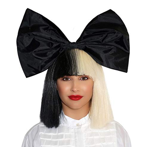 Officially Licensed Sia Costume Cosplay Wig Half Blonde Black 2 Tone Color Short Straight Bob Wig Synthetic Full Wigs with Big Bow Sia Style Wigs for Women Girls]()