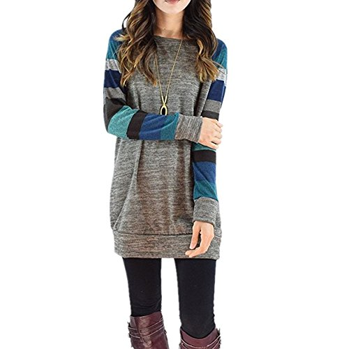 MUMUBREAL Womens Cotton Knitted Tunic Tops Crew Neck Long Sleeve Casual Shirt, XL=US10-12, Blue