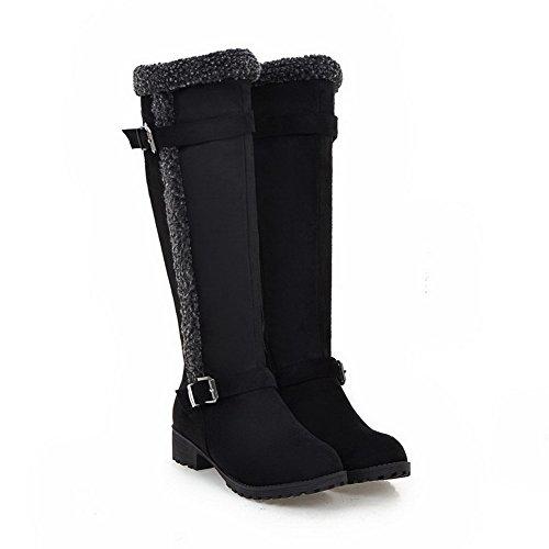 AgooLar Women's Low-Heels Frosted High-Top Solid Zipper Boots Black YZrSjqI3l