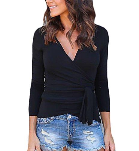 Tops Scollo Slinky Autunno Inverno Puro Camicetta V Camicia Base Nero Donna Eleganti Manica T Shirt Strappy Di Bluse Lunga Magliette Casuali Colore qt6PYY
