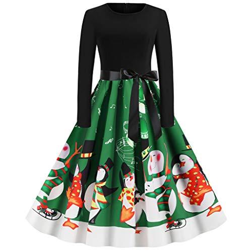 AIEason Women's Christmas Dresses Winter Vintage Long Sleeve Cocktail Party A-Line Dress with Belt