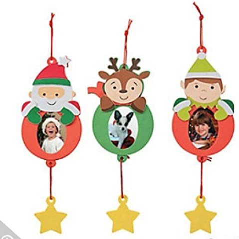 Pack of 12 Kits Reindeer Santa Picture Frame Ornament Christmas Craft Kits Elf
