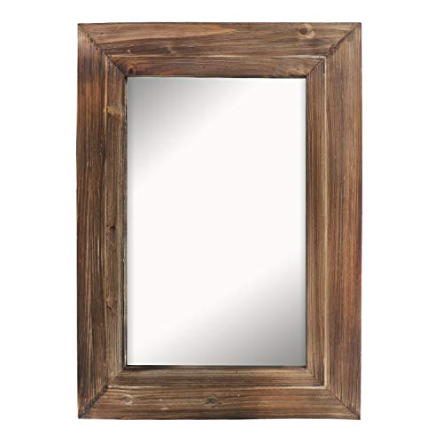 Barnyard Designs Decorative Wall Mirror Rustic Torched Brown Wood Frame Vertical Hanging - Weathered Mirrors Wood Bathroom