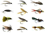 Feeder Creek Fly Fishing Lures Set - Wet and Dry Variety for Trout and Freshwater Fish - 12 Patterns - Nymph,S