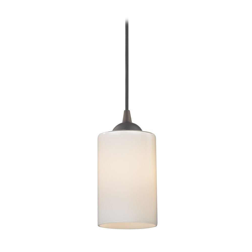 Mini-Pendant Light with Opal White Cylinder Glass in Bronze Finish by Design Classics