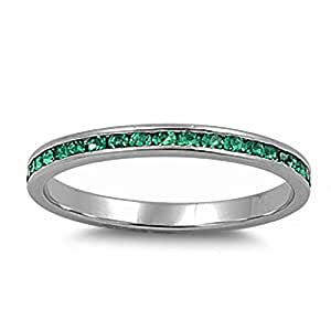 Amazon.com: Channel set Simulated Green Emerald .925