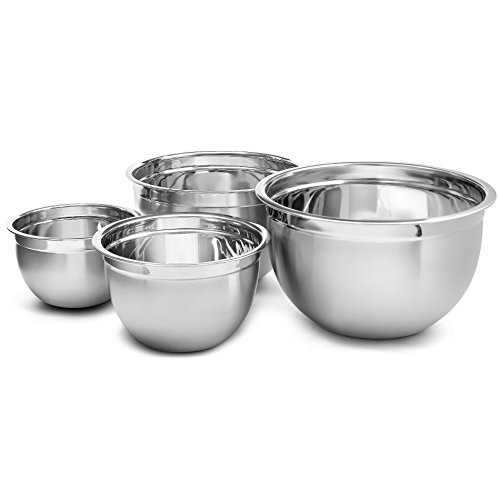 Ybm Home Deep Professional Quality Heavy Duty Stainless Steel Mixing Bowls for Serving Mixing Cooking and Baking - Set of 4(3,5,8 and 12 Quart) 1170-71-72-73set (1, 4 piece ()