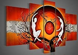 Wieco Art - Red Sun Tree Dancers Large Modern 5 Panels Stretched and Framed 100% hand painted Contemporary Abstract Oil Paintings on canvas Wall Art ready to Hang for Home Decorations Wall Decor L