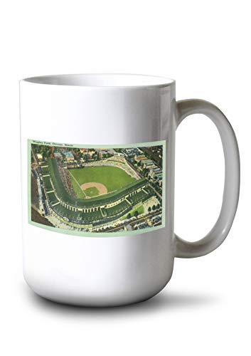 (Lantern Press Chicago, Illinois - Aerial View of Wrigley Field # 2 (15oz White Ceramic Mug))