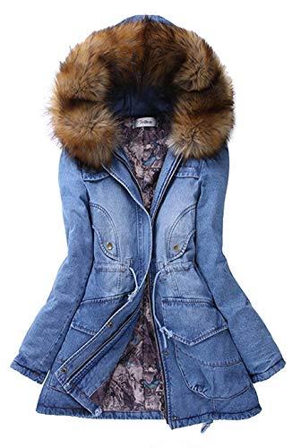 Blu Lunghe Ragazza Giacca Jeans Relaxed Pelliccia Maniche Cappotto Donna Giacche Fashion Chic Zip Elegante Blau Con Caldo Invernali Libero Tempo Lunga TCgnSaq