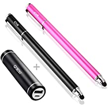 "Bargains Depot Economical Pack- 2Pcs [0.18"" Small tip Series] 2-in-1 Stylus with a 2600mAh Lipstick-Sized Portable Charger External Battery -10Pcs Replacement Rubber Tips Included (Black//Pink)"