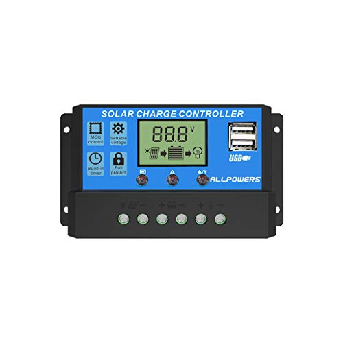 Lnicesky,ALLPOWERS 12V/24V Solar Charger Controller Solar Battery Intelligent Regulator Blue
