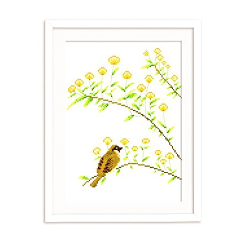 DOMEI Stamped Cross Stitch Kit, A Bird Sits on a Flowering Tree Branch, 11.4 x 14.6 inches