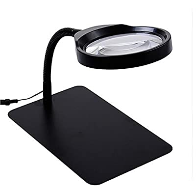 G&M Desktop Magnifying Glass LED Light Magnifier Desktop 10X Magnifying Glass With Led Lights Elderly Reading Maintenance Engraving Lamp High-Power HD