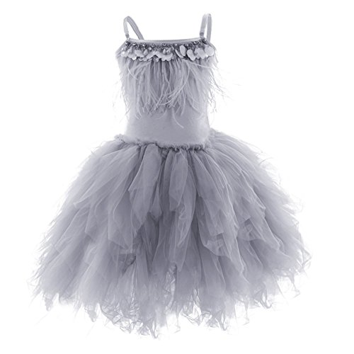 (OBEEII Fashionable Little Girl Swan Princess Feather Fringes Tutu Dress Pageant Party Wedding Dance Formal Birthday Short Tiered Gown Gray 5-6)