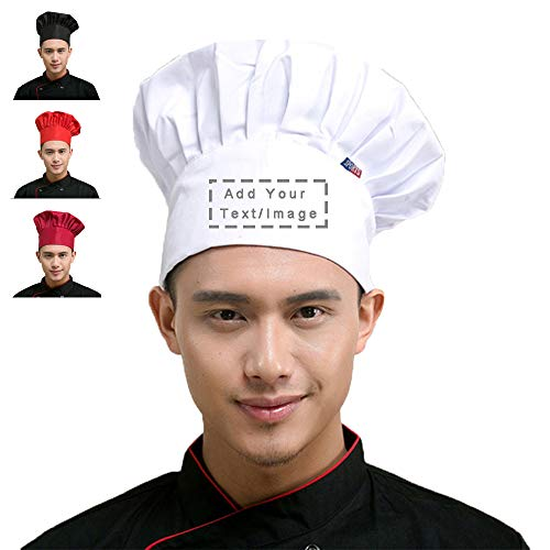 Personalized Custom Chef Hat Adjustable Elastic Baker Kitchen Cooking Chef Cap (White) -