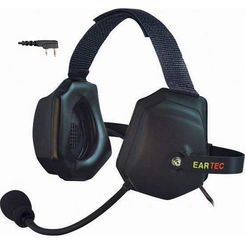 Eartec Xtreme Double Ear Heavy Duty Inline PTT Headset with Mic and Kenwood 2 Pin Connector for Wireless Radios -