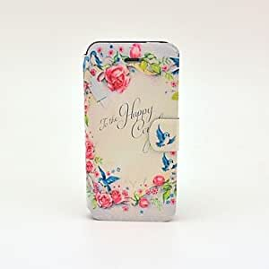 GJYPink Rose and Birds Pattern PU Leather Full Body Case with Card Slot and Stand for iPhone 5/5S