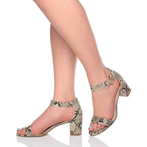 sandali punta Donna taglia Beige caviglia aperta cinghietti tacco medio fibbia Serpente 66wqR01