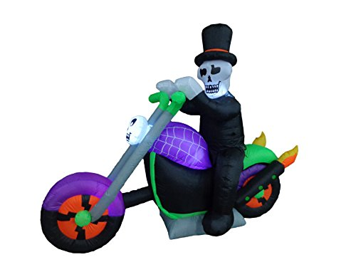 6 Foot Long Halloween Inflatable Skeleton Riding on Motorcycle Party LED Lights Decor Outdoor Indoor Holiday Decorations, Blow up Lighted Yard Decor, Giant Lawn Inflatables Home Family Outside
