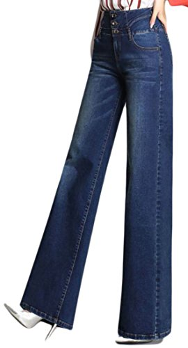 High Waist Wide Leg Dark Denim - 7