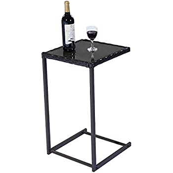 Gentil TANGKULA C Shape Snack Table Steel Construction Rattan PE Wicker Square  Glass Top Sofa Side Table Console Table Accent Table End Table Furniture  For Home ...