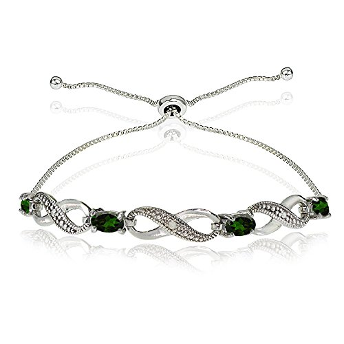 Sterling Silver Simulated Emerald Figure 8 Infinity Adjustable Bolo Bracelet - Sterling 10 X 8 Emerald