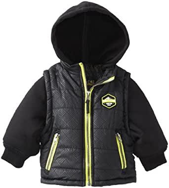 iXtreme Baby Boys' Twofer Printed Puffer, Black, 18 Months