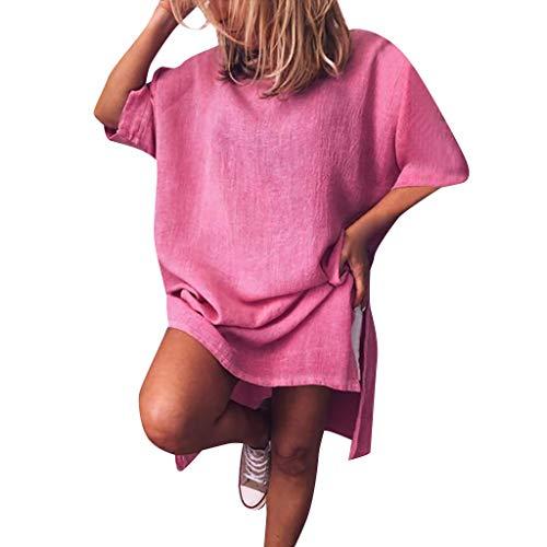 Women Summer Loose T Shirt Dress Solid Bohemian O Neck Casual Short Sleeve Mini Dresses S-5XL Hot Pink
