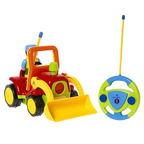 TONOR Rennwagen Traktor Ferngesteuertes Spielzeugauto Cartoon Wagen für Kinder Gelb