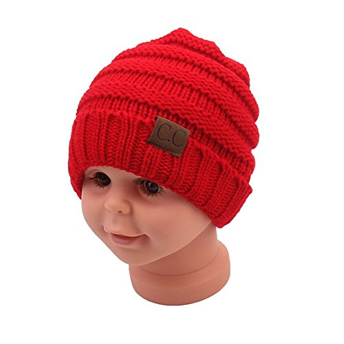 Beanie Red Kids (Sechunk Baby Boy Winter Warm Hat, Infant Toddler Kids Beanie Knit Cap for Girls and Boys [0-5years] (Bright red))