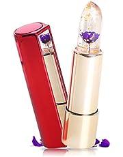Kailijumei Flower Jelly Lipstick Moisturizer Long Lasting Nutritious Lip Balm Lips Magic Color Temperature Change with Mirror (Dream Purple)