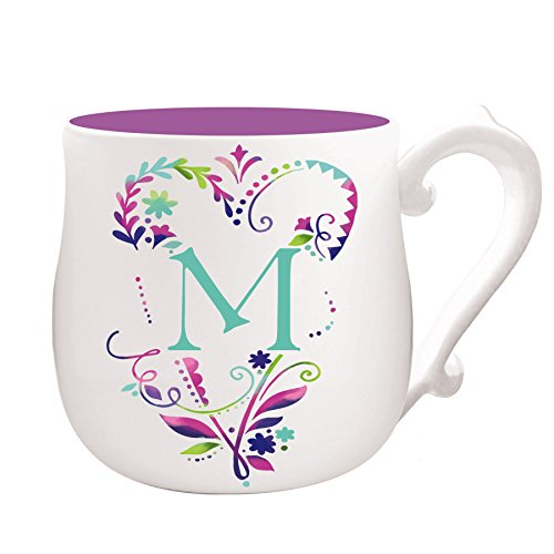 Evergreen Dinnerware Collection - Cypress Home Spring Floral Monogram Hand-Crafted Ceramic Mug, 12 ounces, in Letter M