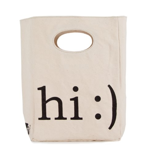 Fluf Organic Cotton Lunch Bag, 'Hi'