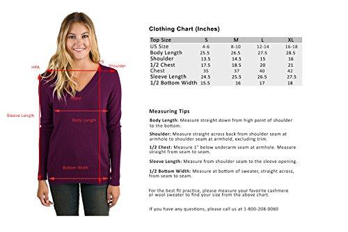 JENNIE LIU Women's 100% Pure Cashmere Long Sleeve Ava V Neck Sweater (M, Plum) by JENNIE LIU (Image #4)