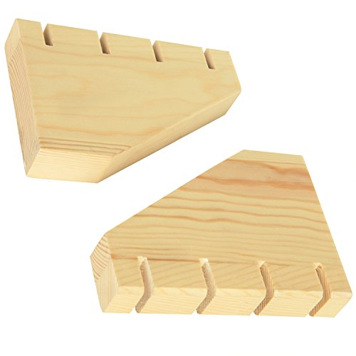 MyGift Set of 2 Beige Wood 4-Slot Ring Display Stands by MyGift (Image #3)