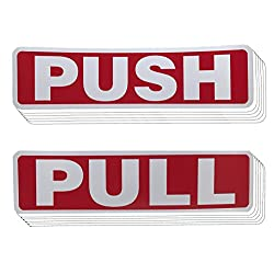 Push Pull Door Vertical Sign Set Sticker - Outdoor Indoor Self Adhesive (5 Pairs, Red)