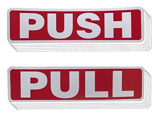 Bmw Vertical Doors (Push Pull Door Vertical Sign Set Sticker - Outdoor Indoor Self Adhesive (5 Pairs, Red))